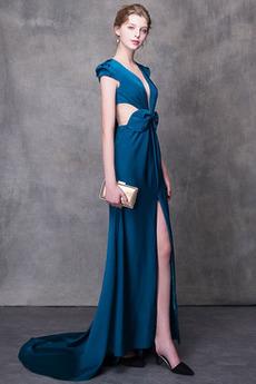Bez pleców V-dekolt Bez rękawów Naturalne talii Sukienka na studniówkę