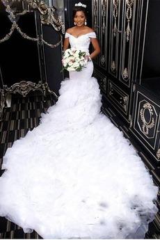 Syrena Organza Zimowe Długi Ograniczona rękawy Sukienka ślubne
