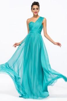Długi Szyfon Naturalne talii Średni Na jedno ramię Sukienka wieczorowe