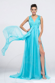 V-dekolt Linia A Lato Przodu Split Elegancki Sukienka wieczorowe
