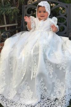 Puf rękawy Naturalny talia Formalny Krótki rękaw Sukienka do chrztu