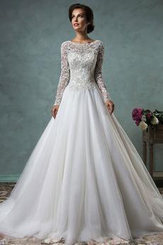 Zabytkowe Naturalny talia Wysokie pokryte Koronki Sukienka ślubne