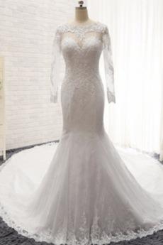 Bez pleców Kościelna Sweep pociągu Elegancki Sukienka ślubne