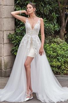 Bez pleców Bez rękawów Linia A Szczeliny przedniego Sukienka ślubne