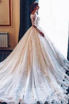 Klasyczny Dew ramię Linia A Odwrócony trójkąt Sukienka ślubne