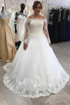 Długi rękaw Nasuwki złudzenia Naturalne talii Sukienka ślubne