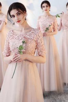 Dew ramię Linia A Zimowy Imperium talia Trójkąt plecionka Sukienka dla Druhen