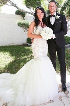 Tiul Na suwak Naturalne talii Frezowanie Panienki Sukienka ślubne