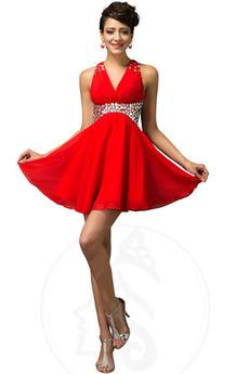 Bez pleców Linia A Frezowanie Szyfon Naturalne talii Sukienka wieczorowe