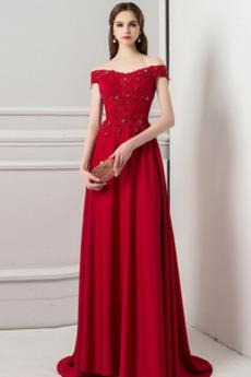 Elegancki Zimowy Koronki nakładki Ograniczona rękawy Sukienka wieczorowe