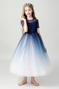 Naturalny talia Ślub Klejnot Upadek Panienki Dzieci sukienka