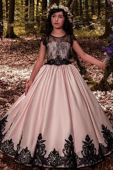 Średni Krótki rękaw Linia A Koronka Spadek Koronki Dzieci sukienka