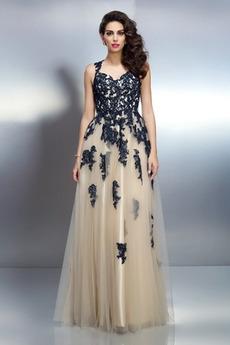 Linia A Koronki Naturalny talia Bez rękawów Sukienka wieczorowe