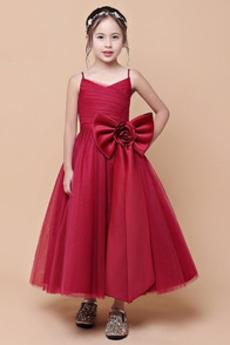 Elegancki Satyna Chybienia Bez rękawów Na suwak Dzieci sukienka