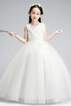 Tiul Naturalne talii Huśtawka Elegancki Haft Dzieci sukienka