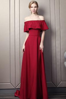 8b297dd708 Długość do podłogi Upadek Frezowanie Rosy ramię Sukienka wieczorowe