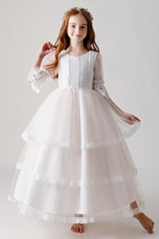 Tiul Wielowarstwowe Naturalne talii Nasuwki złudzenia Dzieci sukienka