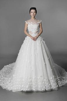 Krótki rękaw Długi Klejnot Wiosna Sama z powrotem Sukienka ślubne