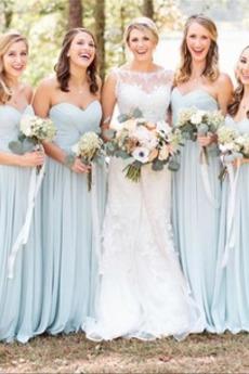Prosty Linia A Harmonijkowe gorset Długi Sukienka dla Druhen