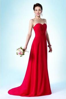 Szyfon Serduszko Długi Przyjęcie Latem Elegancki Sukienka dla Druhen