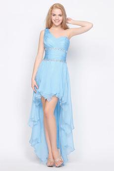 Zroszony pasów Szyfon Naturalne talii Romantyczny Sukienka wieczorowe