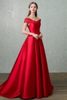 Skromny Naturalne talii Krótki rękaw V-dekolt Sukienka na studniówkę