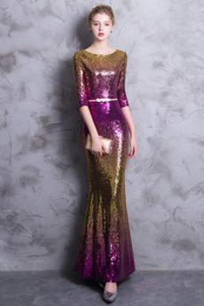 Naturalne talii Rękawy trzy czwarte Cekiny Sukienka na studniówkę
