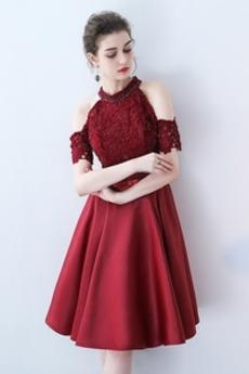 Ograniczona rękawy Spadek Frezowanie Linia A Sukienka koktajlowe