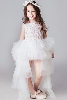 Tiul Wysoki Niski Wydajność Bez rękawów Latem Dzieci sukienka
