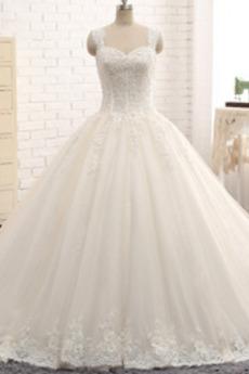Bez pleców Tiul Aplikacje Szerokie ramiączka Sukienka ślubne