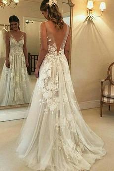 Bez rękawów Głęboki dekolt w serek Elegancki Sukienka ślubne