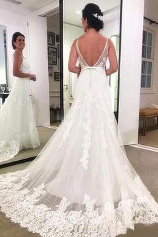 Chybienia Aplikacje Linia A Ogród Bez pleców Sukienka ślubne