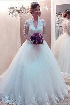 Długi rękaw Plaża Koronki nakładki Długość do podłogi Sukienka ślubne