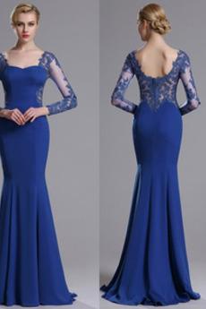 Długi Na suwak Elegancki Syrena Długi rękaw Sukienka wieczorowe