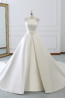 Duży Rozmiar Sznurowane Naturalny talia Zima Sukienka ślubne