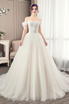 Ograniczona rękawy Dew ramię Naturalne talii Sukienka ślubne