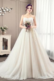 Naturalny talia Satyna Bezszelestnie Bez rękawów Sukienka ślubne