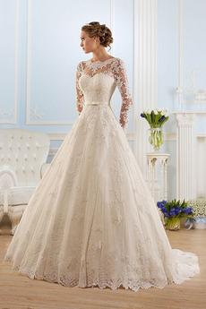 Długi rękaw Nasuwki złudzenia Zabytkowe Balowa Sukienka ślubne