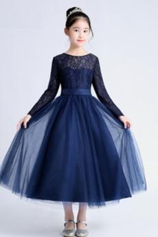 Koronka Akcentowane łuk Elegancki Długość herbaty Dzieci sukienka