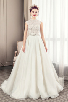 Linia A Wysokiej szyję Naturalne talii Długi Sukienka ślubne
