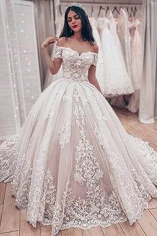 Krótki rękaw Sznurowane Zimowy Ograniczona rękawy Sukienka ślubne
