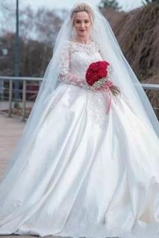 Duży Rozmiar Naturalne talii Dekolt łódka Koronki nakładki Sukienka ślubne