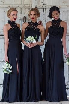 Naturalne talii Wysoki szyi Koronki nakładki Sukienka dla Druhen
