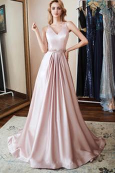 Bez pleców Lato V-dekolt Satyna Formalny Sukienka wieczorowe