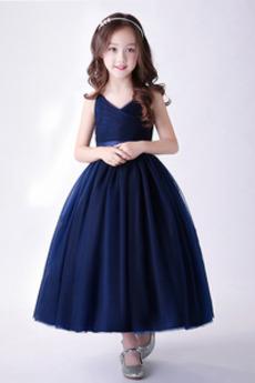 Linia A Naturalne talii Upadek Formalny Satyna Dzieci sukienka