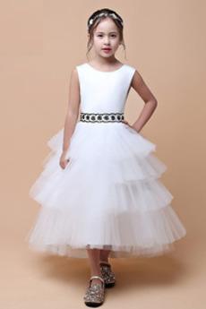 83039c7491 Wiosna Wydajność Bez rękawów Na suwak Długość herbaty Dzieci sukienka