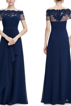 Aplikacje Naturalne talii Dew ramię Elegancki Sukienka wieczorowe