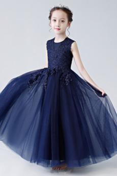 Długość kostki Koronki Huśtawka Panienki Aplikacje Dzieci sukienka