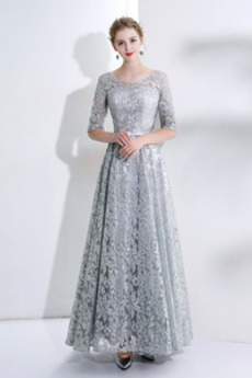 Latem Linia A Długość kostki Rękawy trzy czwarte Sukienka wieczorowe