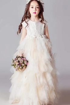 Długość do podłogi Krótki rękaw Elegancki Ograniczona rękawy Dzieci sukienka
